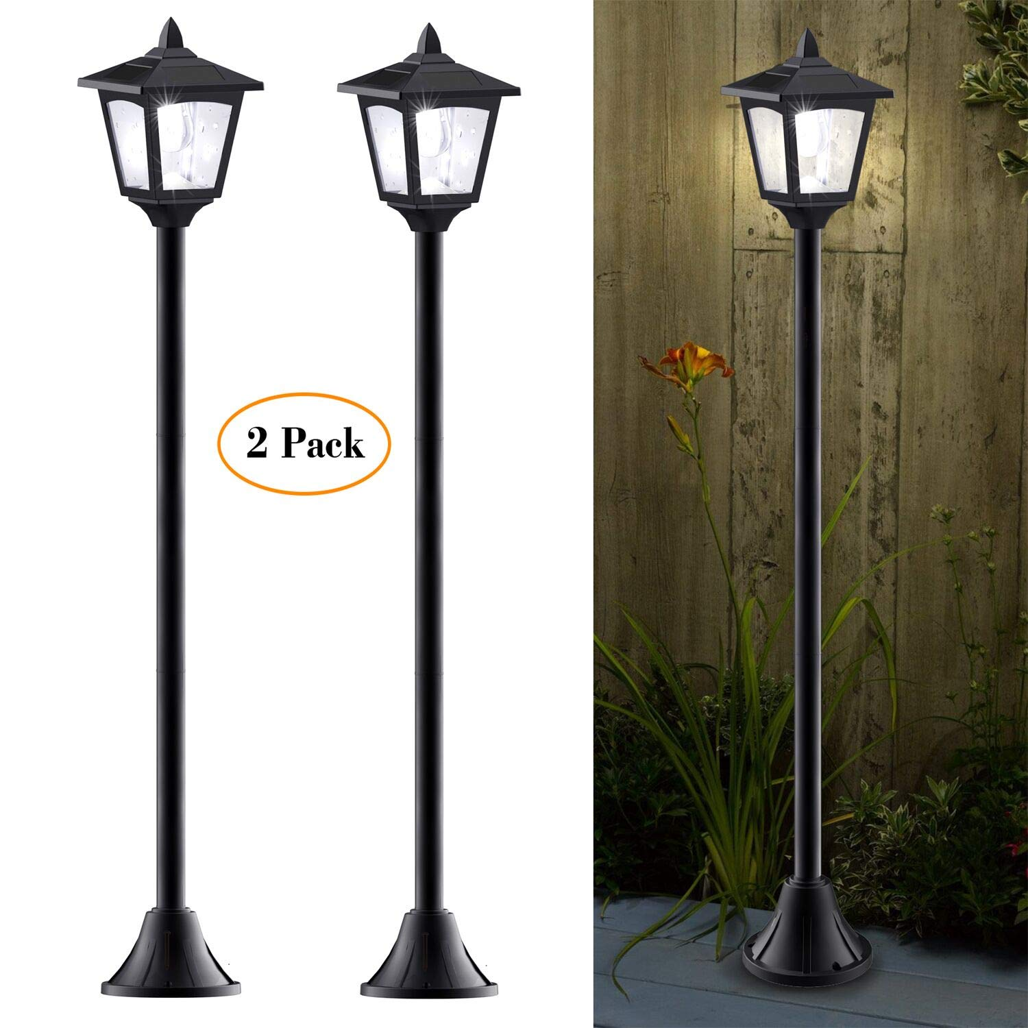 40 Inches Mini Solar Lamp Post Lights Outdoor, Solar Powered Vintage Street Lights for Lawn, Pathway, Driveway, Front/Back Door, Pack of 2 by Greluna