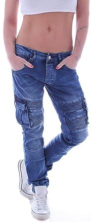 e7d156946ae2e6 Damen Unisex Cargojeans Boyfriend Jeans Hose Cargo Baggy Hüftjeans  Übergröße Blau XS 34 gr größe Size