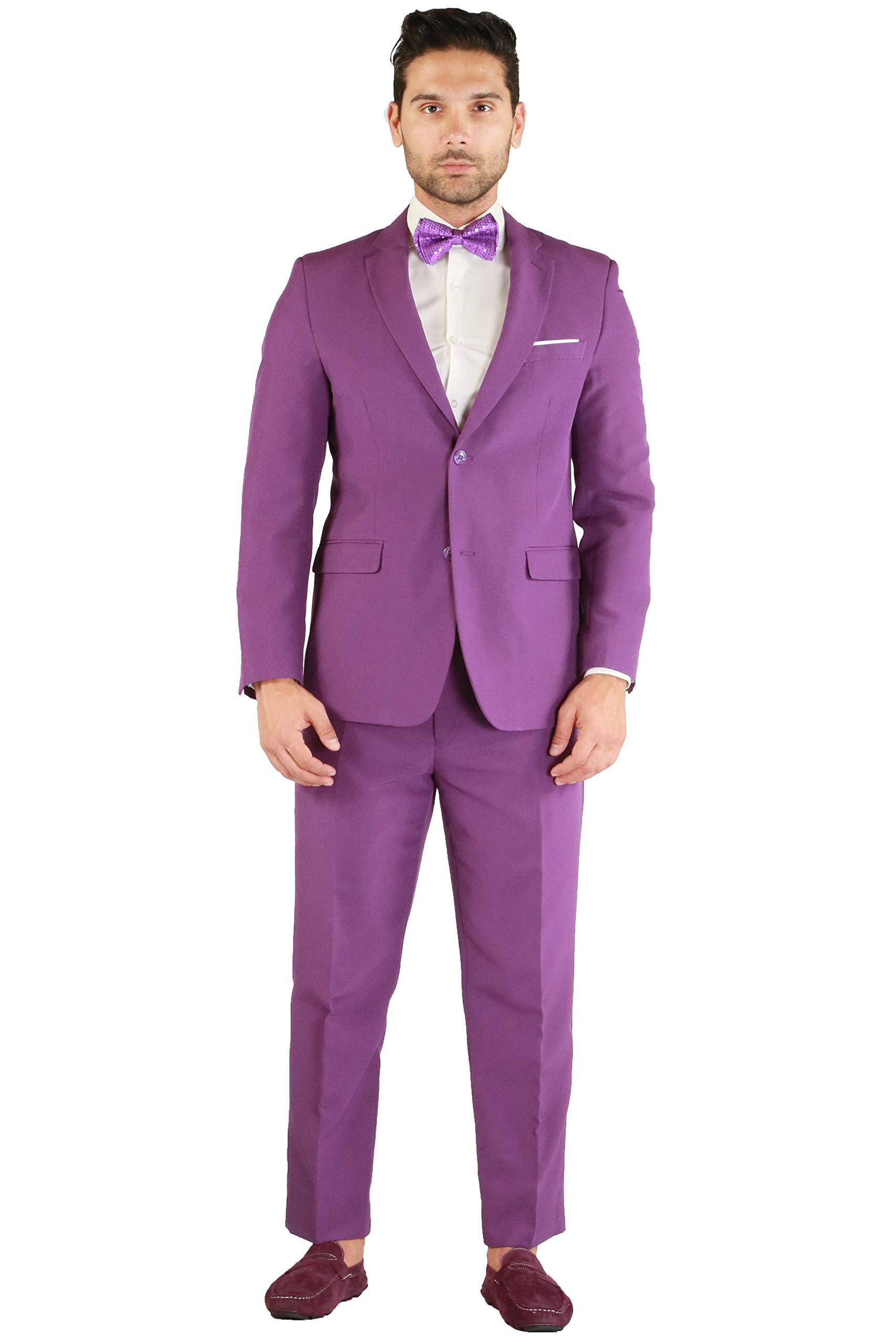Men's Purple Slim Fit 2 Piece Notch Lapel Suit Set with Blazer Jacket & Dress Pants - (50R) by Ferrecci