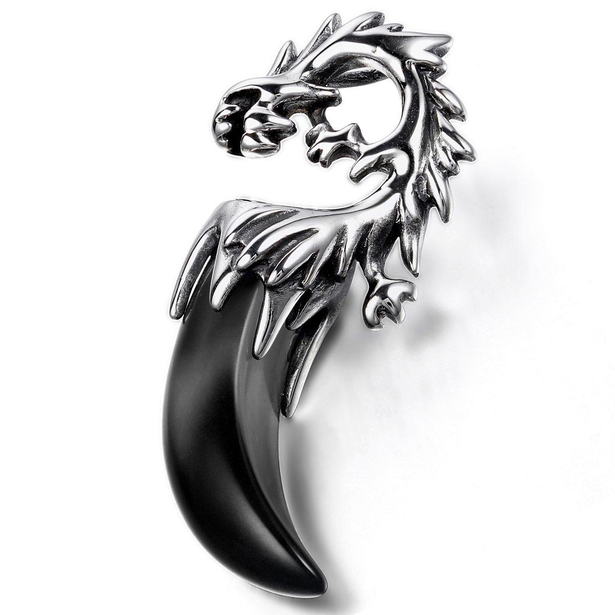 Oidea Herren Halskette mit Anhänger, Edelstahl Drachen Wolf Gebiss Zahn Tribal Stammes Anhänger mit Kette Halsband, Silber Schwarz Oidea1121