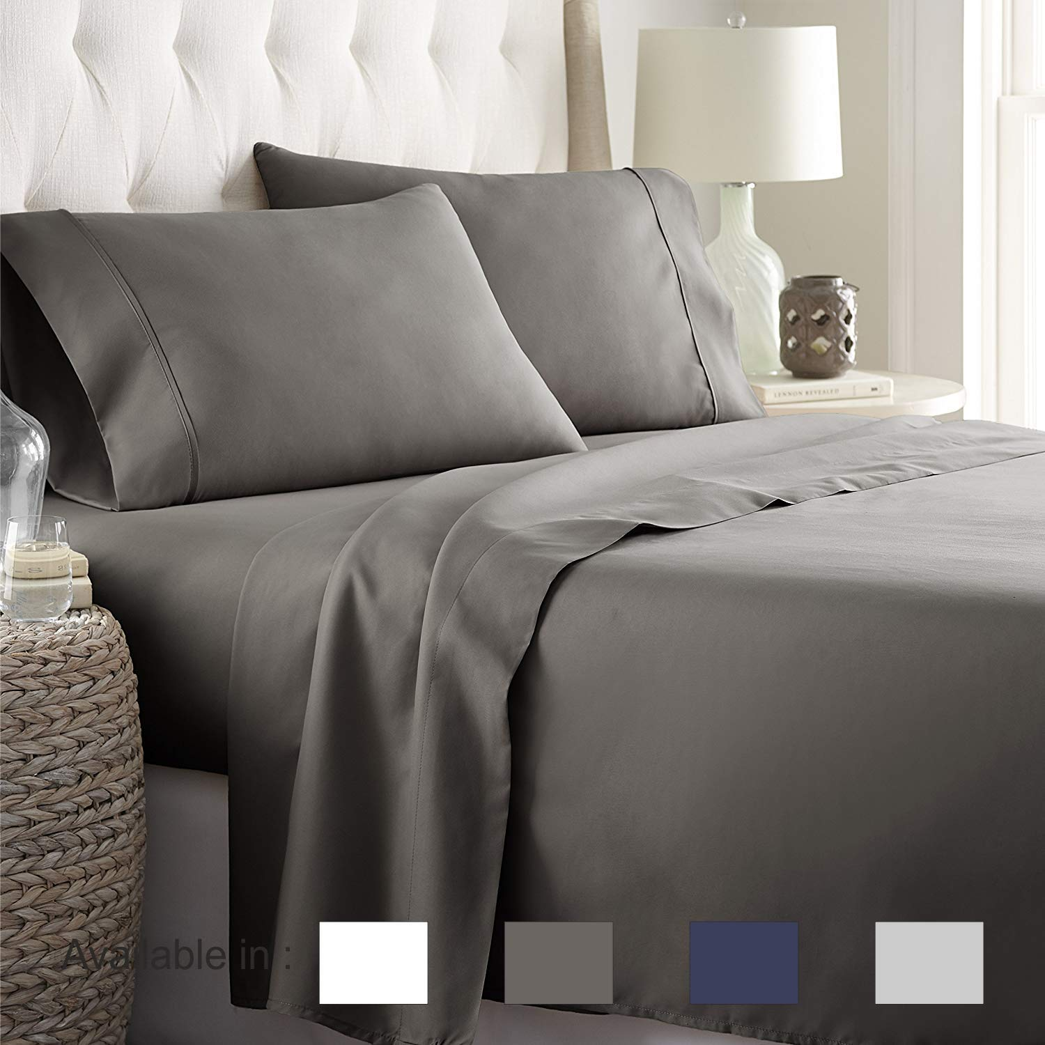 Full-Xl sheets Extra Deep Pockets 15 Inch 500 Thread Count 4 Piece Sheet Set 100% Cotton Sheet Set Dark Grey Solid Sheet,long staple cotton Bedsheet And Pillow Cover,Sateen Finish,Soft,Breadthable