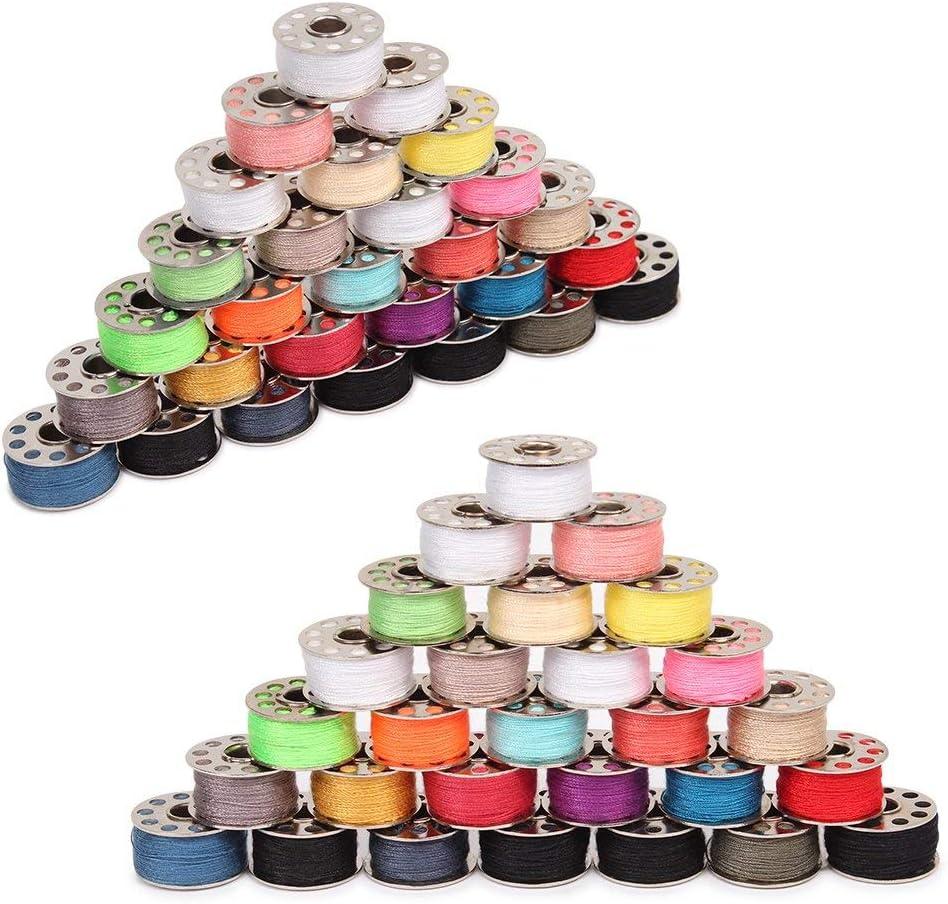 CASAVIDA 60 Pcs Bobbins Sewing Threads Kit 60 PCS Mixed Colors for Sewing Machine