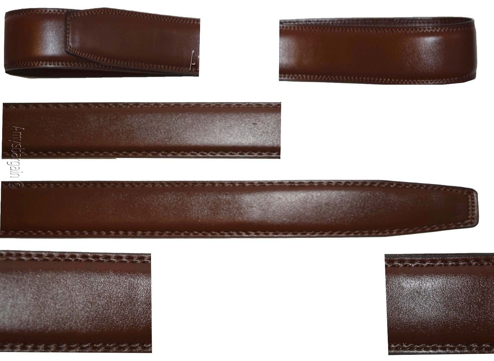 Women's Leather belt. Strap Automatic sliding buckle Auto-lock 1.10'' Strap only. (Light Brown, 35-36)