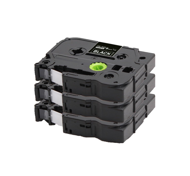 3x Ruban pour Etiqueteuse Compatible remplace Brother TZe-325 / TZ-325 | blanc sur noir / 9mm x 8m | pour Brother P-Touch 1000 1010 1090 1830VP 2030VP 2100VP 2430PC 2470 2730VP 7100VP 7600VP H100 H300 D200 and other P-Touch LabelWriter COEmedia