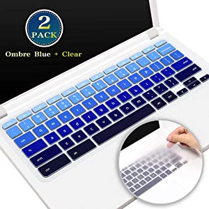 "2 Pack ASUS Chromebook Keyboard Cover 15.6 Inch, Silicone Keyboard Skin Protector for ASUS Chromebook Flip C302 C302CA 12.5"", 14 Inch ASUS Chromebook C423NA(Ombre Blue+Clear)"