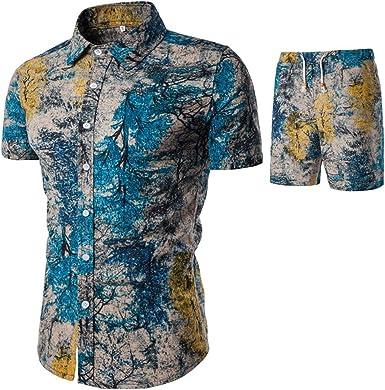 BESBOMIG Camisa Hawaiana para Hombre - 2PCS L-5XL con Pantalones Cortos para la Playa, Fiestas, Verano: Amazon.es: Ropa y accesorios