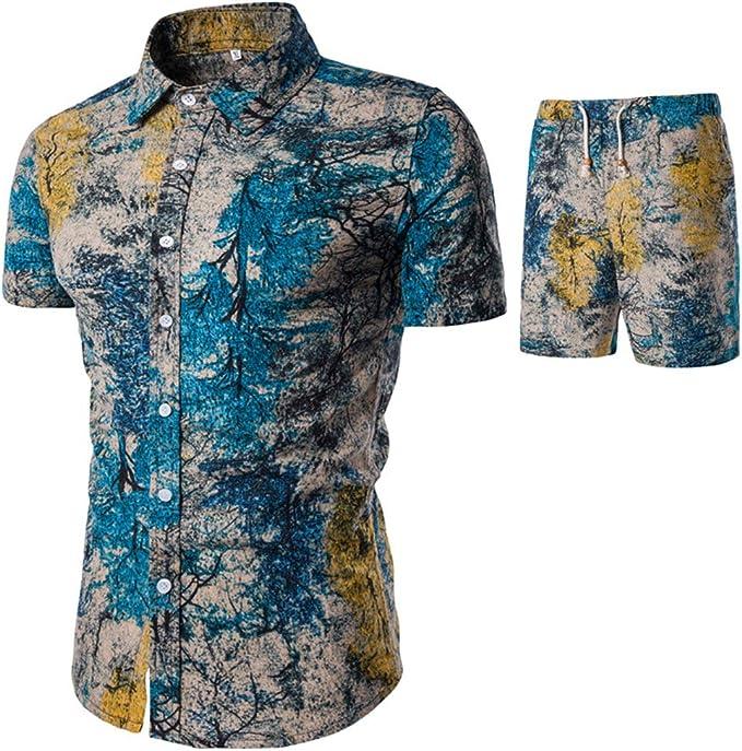 Zhhlinyuan Camisa Hawaiana Manga Corta para Hombre con Pantalones Cortos L- 5XL: Amazon.es: Ropa y accesorios
