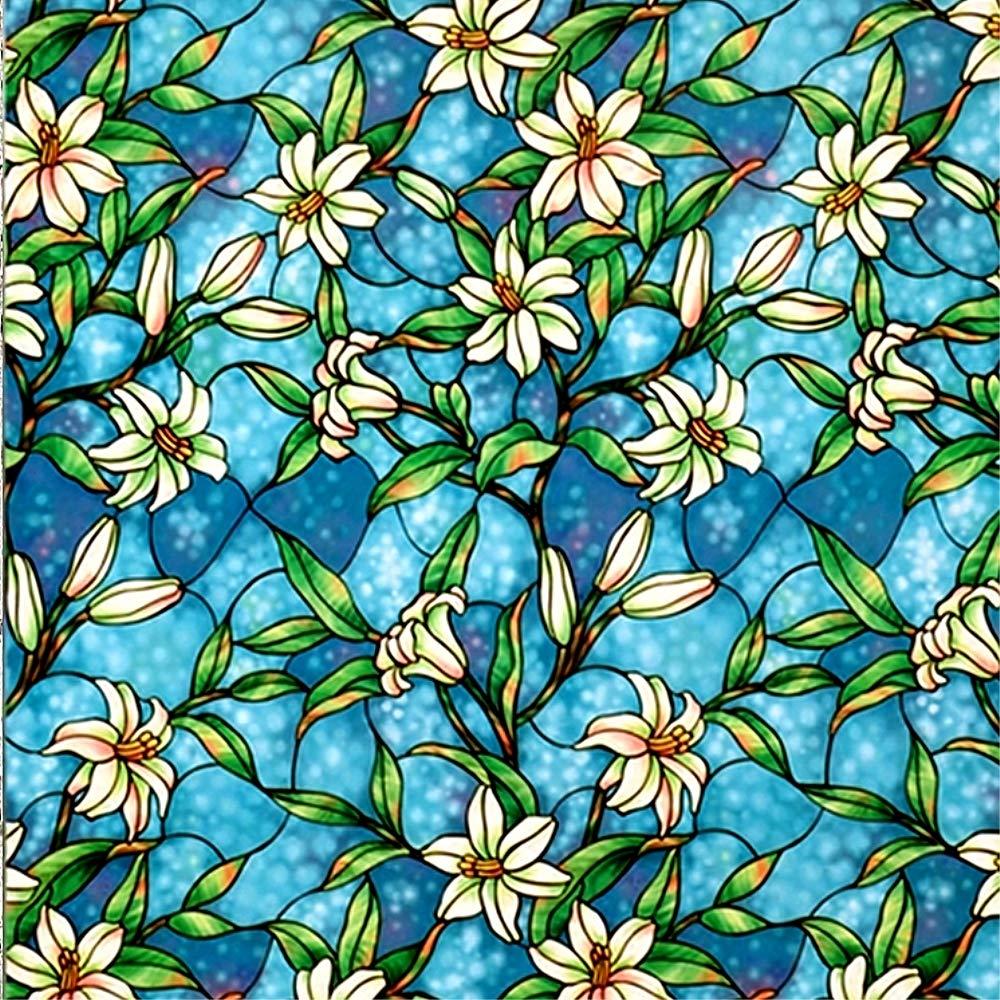 VELIMAX Film Electrostatique Décoratif pour Vitre Design de Orchidée Couleur Bleu Autocollant pour Maison Salle de Bain Cuisine Chambre 90cm x 200cm
