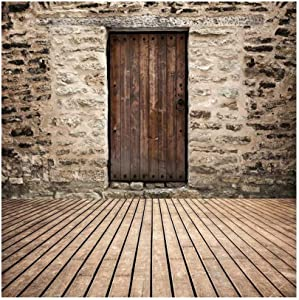 DaShan 4x4ft Polyester Retro Rustic Wood Door Stone Wall Backdrop Newborn Baby Shower Birthday Party Decor Shabby Chic Grunge Background for Nostalgia Bridal Shower Wedding Home Party Lover Photo Prop