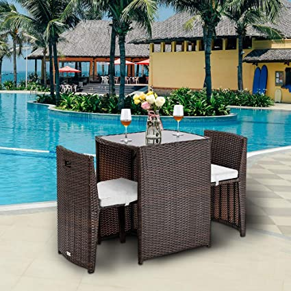 Small Space Patio Furniture.Sogesfurniture 3 Pieces Small Patio Set Outdoor Furniture Space Saving Dining Table And Chairs Patio Furniture Sets Bistro Set With Cushions And Glass