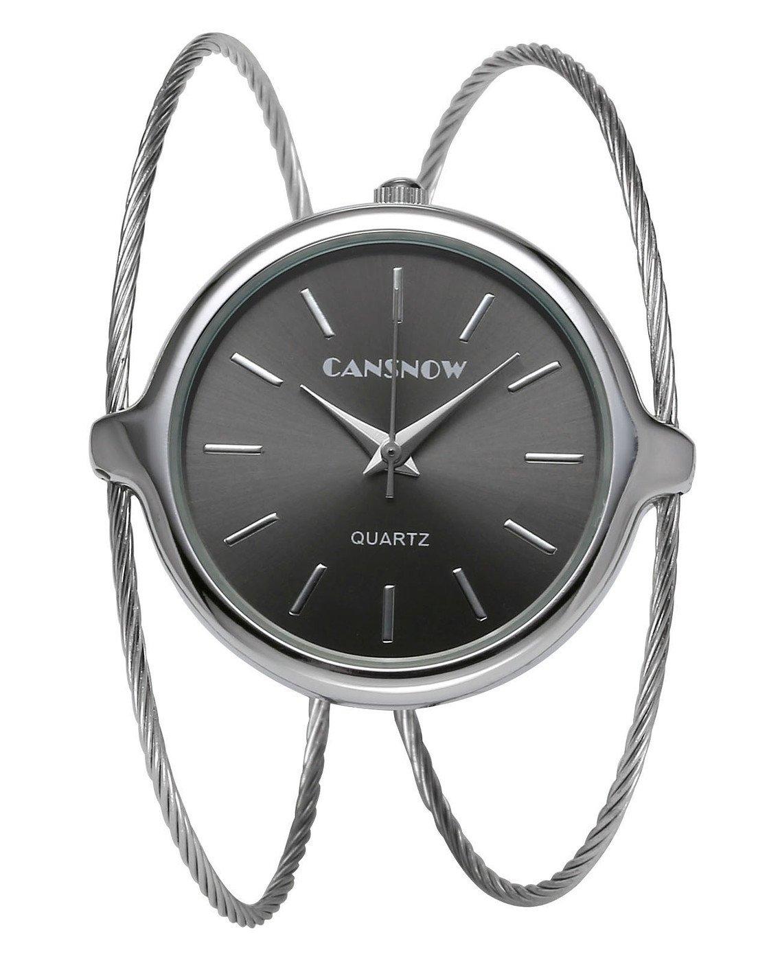 Top Plaza Womens Fashion Casual Silver Tone Analog Quartz Bangle Cuff Bracelet Wrist Watch, Unique Elegant Thin Metal Band Big Face Watches for Small Wrist(Black Dial)
