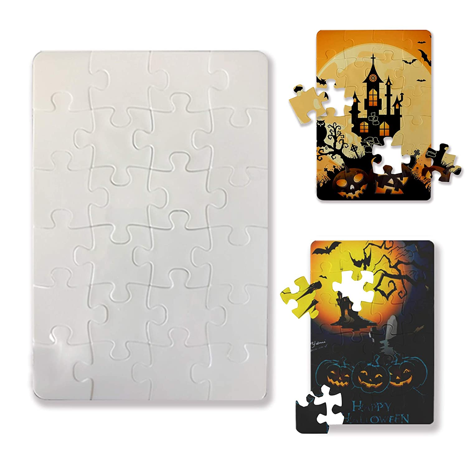 Bosstop 5X7.5 Blanks White DIY Custom Plastic Jigsaw Halloween Puzzle 24-Pieces 4 Puzzles Per Package for Sublimation Blanks Heat Press
