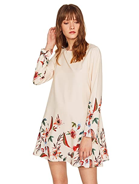 242ddee055b2 OEUVRE Women's Basic Casual Floral Loose Shift Tunics Dress L at Amazon Women's  Clothing store: