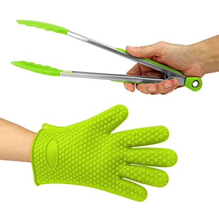 Heat Resistant Grilling BBQ Useful 2pc Set, Silicone Glove for Cooking, Baking, Smoking Potholder, Unisex Size and Silicone Stainless Steel Kitchen Food Cooking 12 Inch Tongs, Best Gift Green