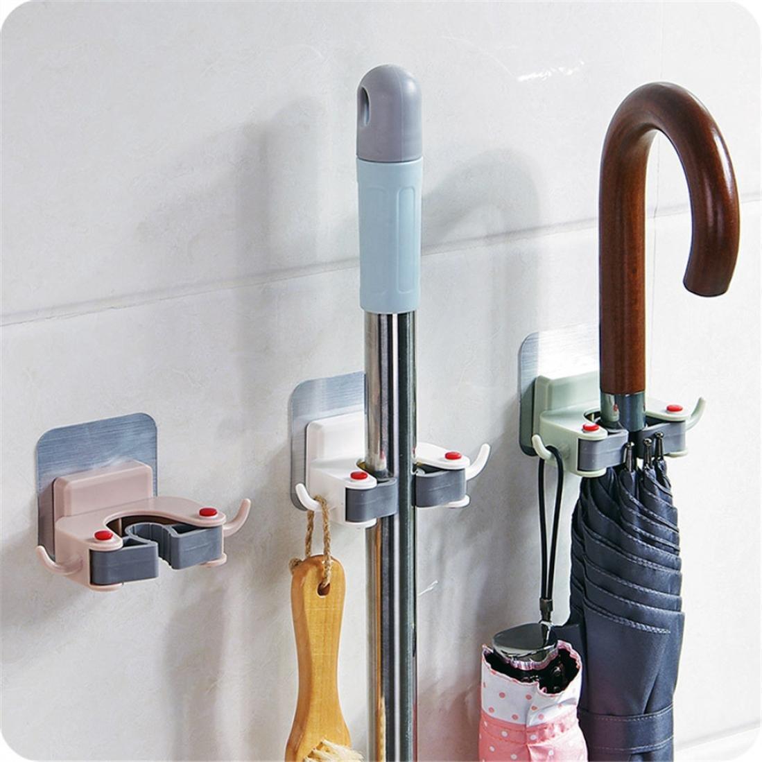 Clearance! Wensltd Mop Broom Holder Wall Mounted Kitchen Garden Tool Rack Garage Storage & Organizer (Blue)