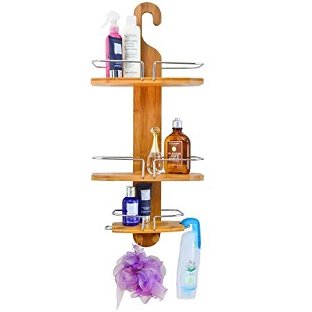 Wooden Shower Caddy: Bamboo Hanging Shower Organizer 3 Tier Bathroom ...