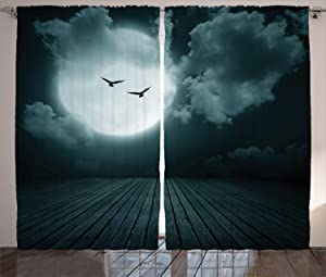 Ambesonne Gothic Decor Collection, Danger Night with Cloudy Full Moon and Bats Birds in the Dark Haunted Lands Artful Print, Living Room Bedroom Curtain 2 Panels Set, 108 X 84 Inches, Teal