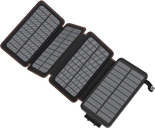 A ADDTOP Cargador Solar 25000mAh, Power Bank Portatil Batería Externa de 2 Puertos para iPhone, iPad, Samsung Galaxy, Huawei y más