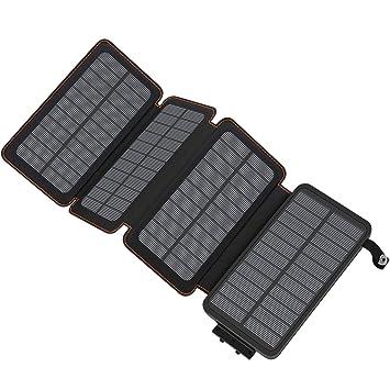 ADDTOP Cargador Solar 25000mAh, Power Bank Portatil Batería Externa de 2 Puertos para iPhone, iPad, Samsung Galaxy, Huawei y más
