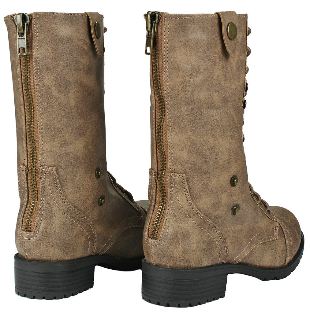 Women Holly-7 Taupe Military Combat Foldable Cuff Faux Leather Plaid/Quilted Back Zipper Lace Up Boots-8.5 by JJF Shoes (Image #5)