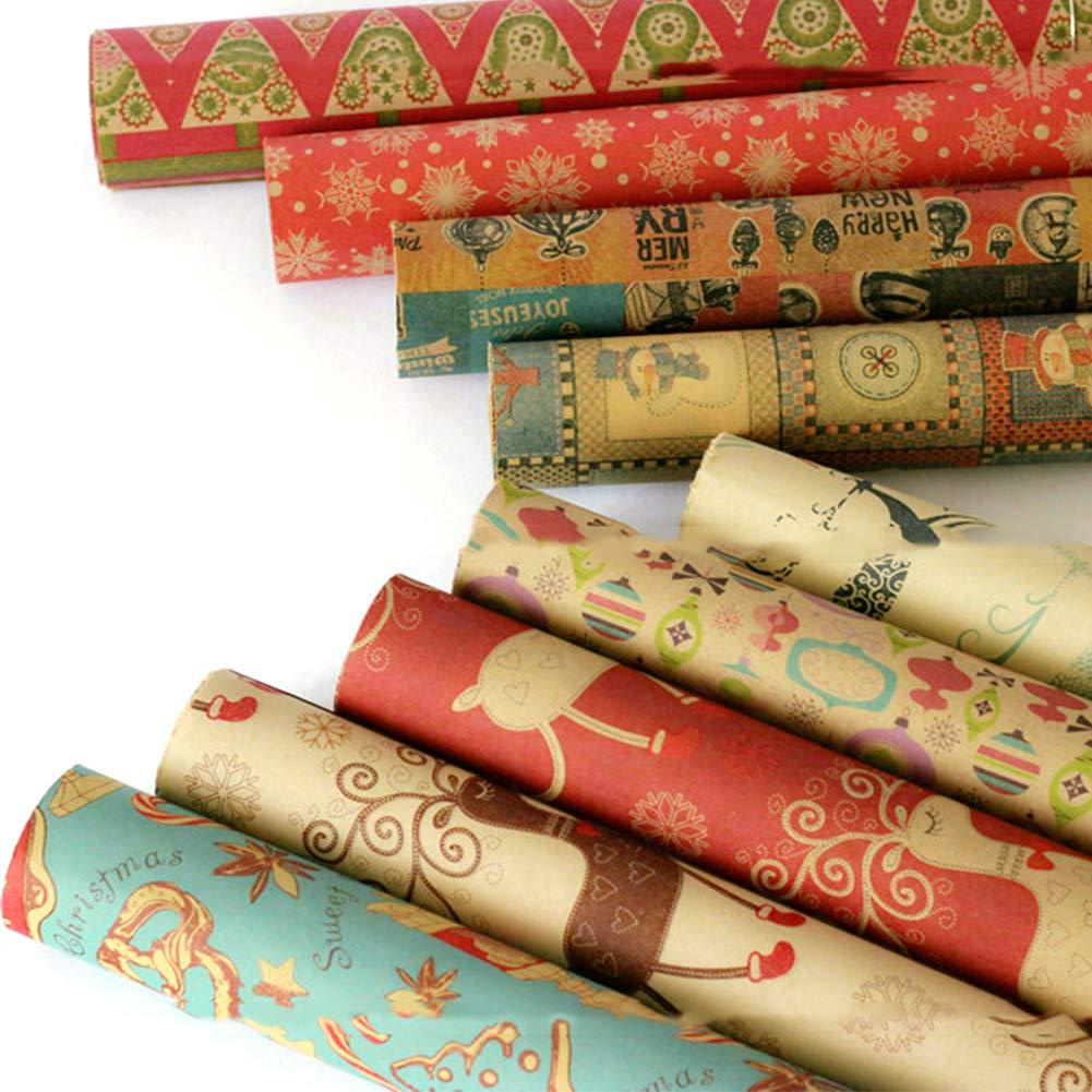 Carta Da Regalo Natale Carte da imballaggio 10 fogli 70 X 50 Cm Kraft Carta da regalo Per Tutte Le Occasioni,Anniversari,Compleanni,Natale,Capodanno E Matrimoni Per Uomini Di Regali Femminili Retro
