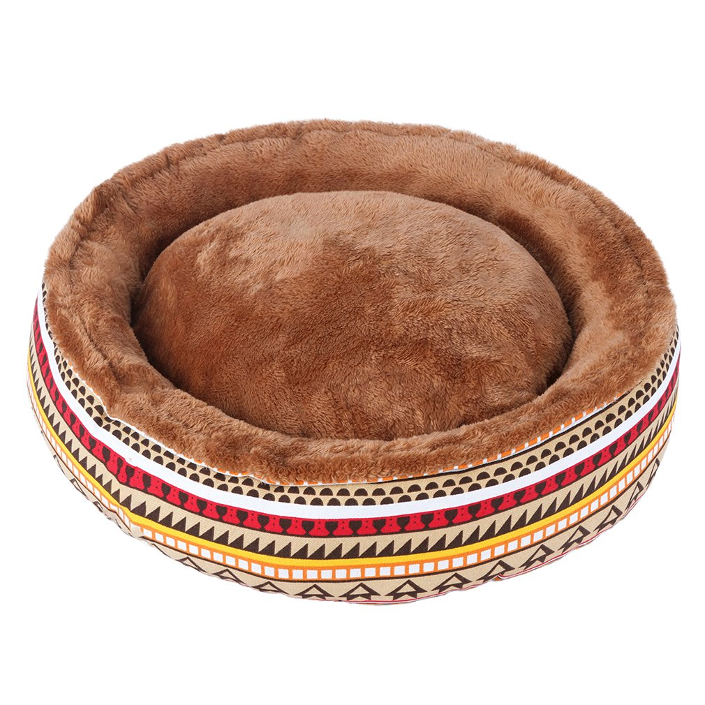 Multicolor Medium Multicolor Medium QIAOQI Round Dog Bed, Print Soft Pet Cat Cave Bed Washable Basket Cushion Medium Multicolor