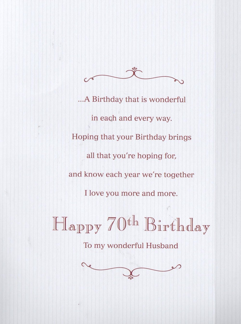 To my wonderful husband on your 70th birthday card amazon to my wonderful husband on your 70th birthday card amazon office products bookmarktalkfo Images