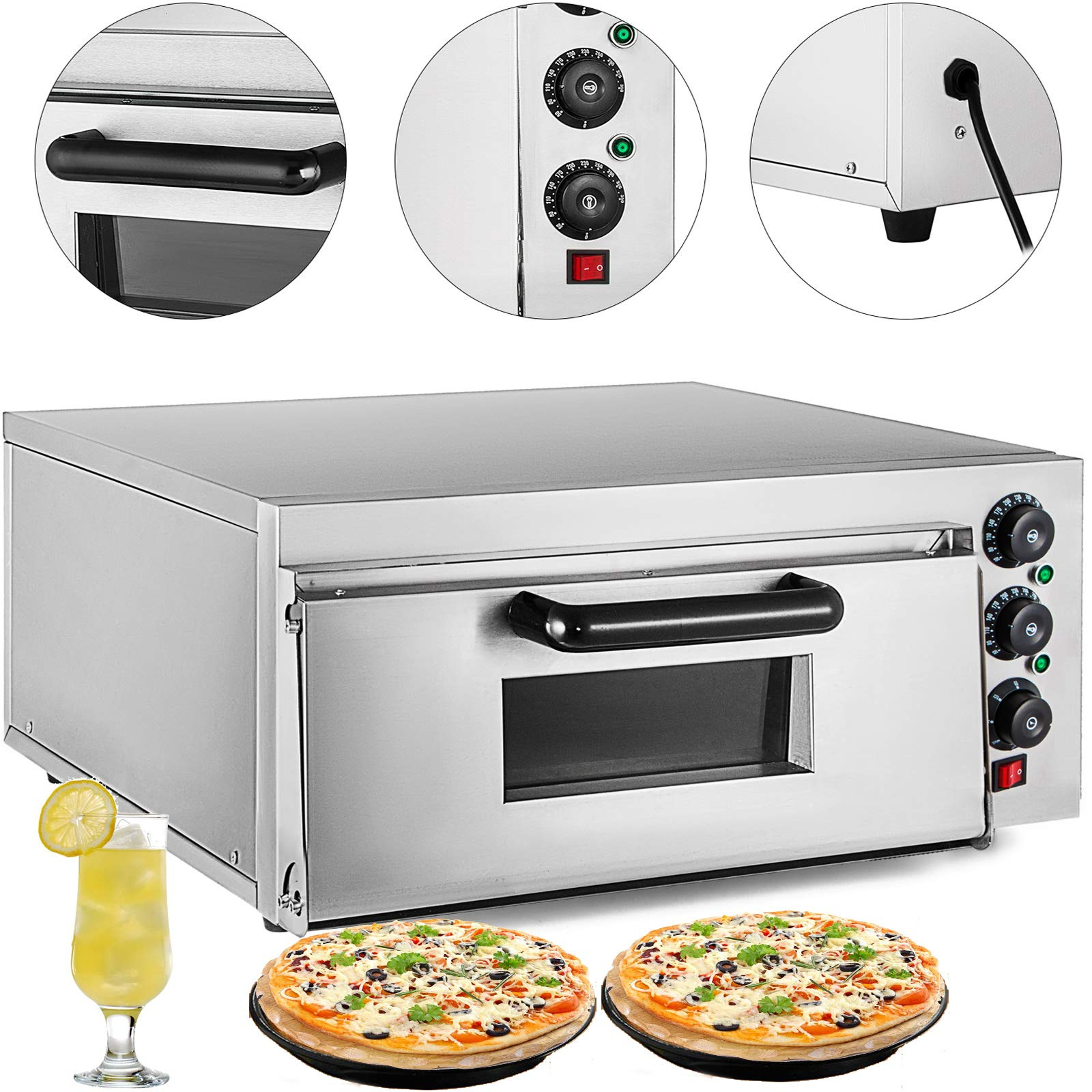 VEVOR Commercial Pizza Oven 2200W Stainless Steel Pizza Oven Countertop 110V Electric Pizza and Snack Oven 16 Inch Deluxe Pizza and Multipurpose Oven for Restaurant Home Pizza Pretzels Baked Dishes