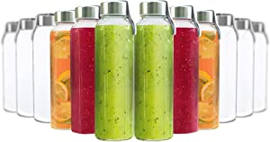 Chef's Star Glass Water Bottle 12 Pack 16oz Bottles for Beverage and Juice, Stainless Steel Caps with Carrying Loop - Including 12 Black Nylon Protection Sleeve