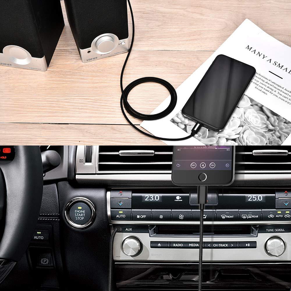 XR 7 Plus XS Max autoradio 0101 Adaptateur Lightning Jack 1.2m MFi Certifi/é Adapteur iPhone 7 Cable Jack Audio 3,5mm M/âle vers Lightning AUX Car Cordon Apple Compatible iPhone 8s X