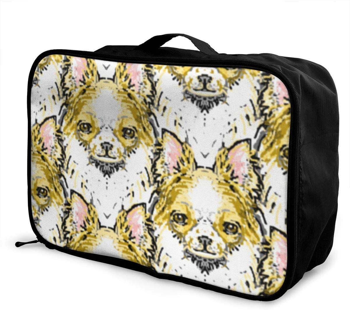 Long Haired Chihuahua Travel Carry-on Luggage Weekender Bag Overnight Tote Flight Duffel In Trolley Handle
