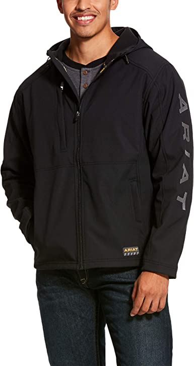 ARIAT Mens Rebar Stretch Canvas Softshell Hooded Logo Jacket