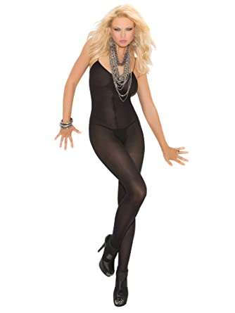f62f65d090 Elegant Moments Women s Opaque Bodystocking with Open Crotch