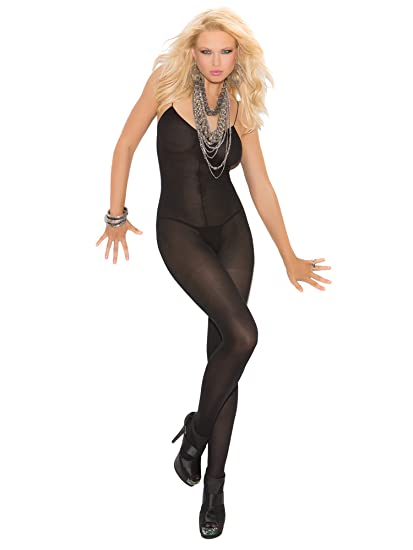 28e644b6a34 Elegant Moments Women s Opaque Bodystocking with Open Crotch