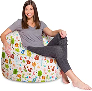 Posh Creations Bean Bag Chair for Kids, Teens, and Adults Includes Removable and Machine Washable Cover, 48in - X-Large, Canvas Animals Forest Critters