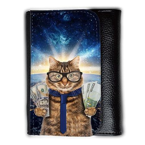 Cuero Original Sujetadora Tarjeta Crédito Identificación Dinero // Q05660667 Gato negocios Espacio galaxia //