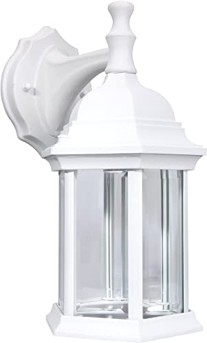 LIT-PaTH Outdoor Wall Lantern, Wall Sconce Light as Porch Lighting Fixture with One E26 Base Max 100W, Aluminum Housing Plus Glass, Matte White Finish, Water-Proof Outdoor Rated