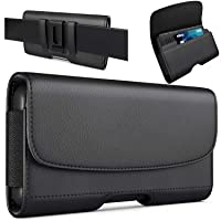 PiTau iPhone Xs Max Holster, iPhone 8 Plus 7 Plus Belt Clip Case, Premium Leather Holster Pouch Case with ID Card Holder for Apple iPhone Xs Max/6s Plus/7 Plus/8 Plus (Fit with Phone Case on) Black