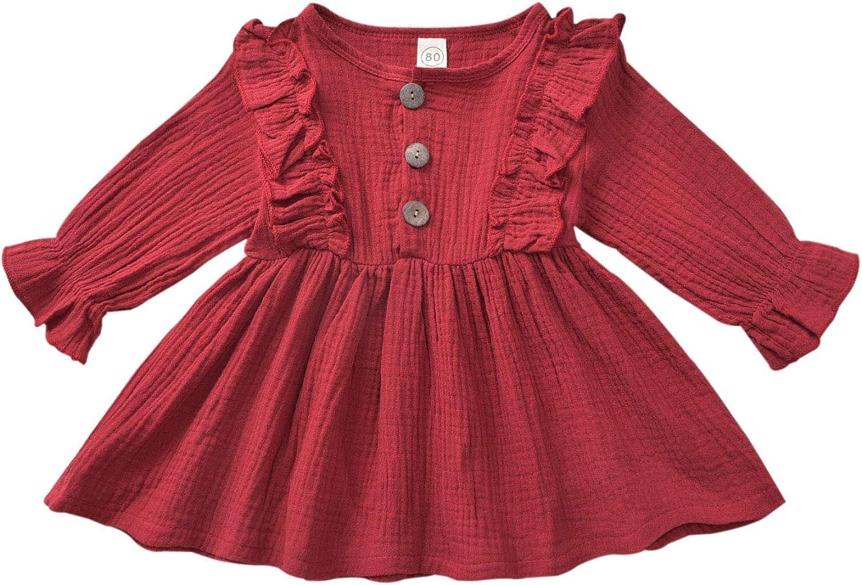 T TALENTBABY Baby M/ädchen R/üschen Strampler Baumwolle Leinen Langarm Overall Onsises Triangel Body Outfits Rundhals Baby Strampler Kleidung