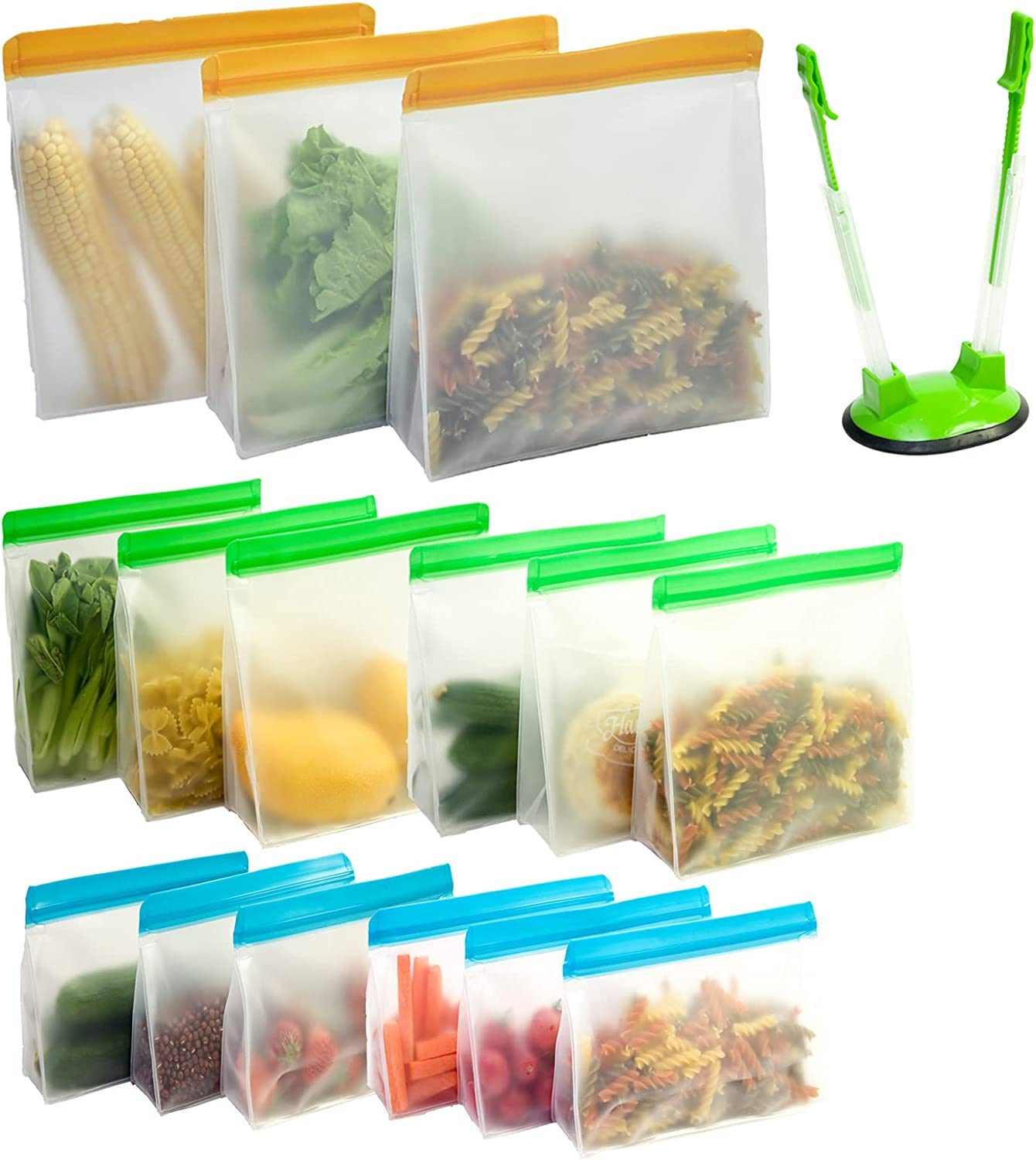 Stand Up Reusable Food Storage Bags 15 Pack Leakproof Silicone Bags Reusable Freezer Bags Zip Lock (3 Large Gallon Bags+6 Sandwich Bags+6 Snack Bags+Baggy Rack Holder) Bolsas Reutilizables De Silicona