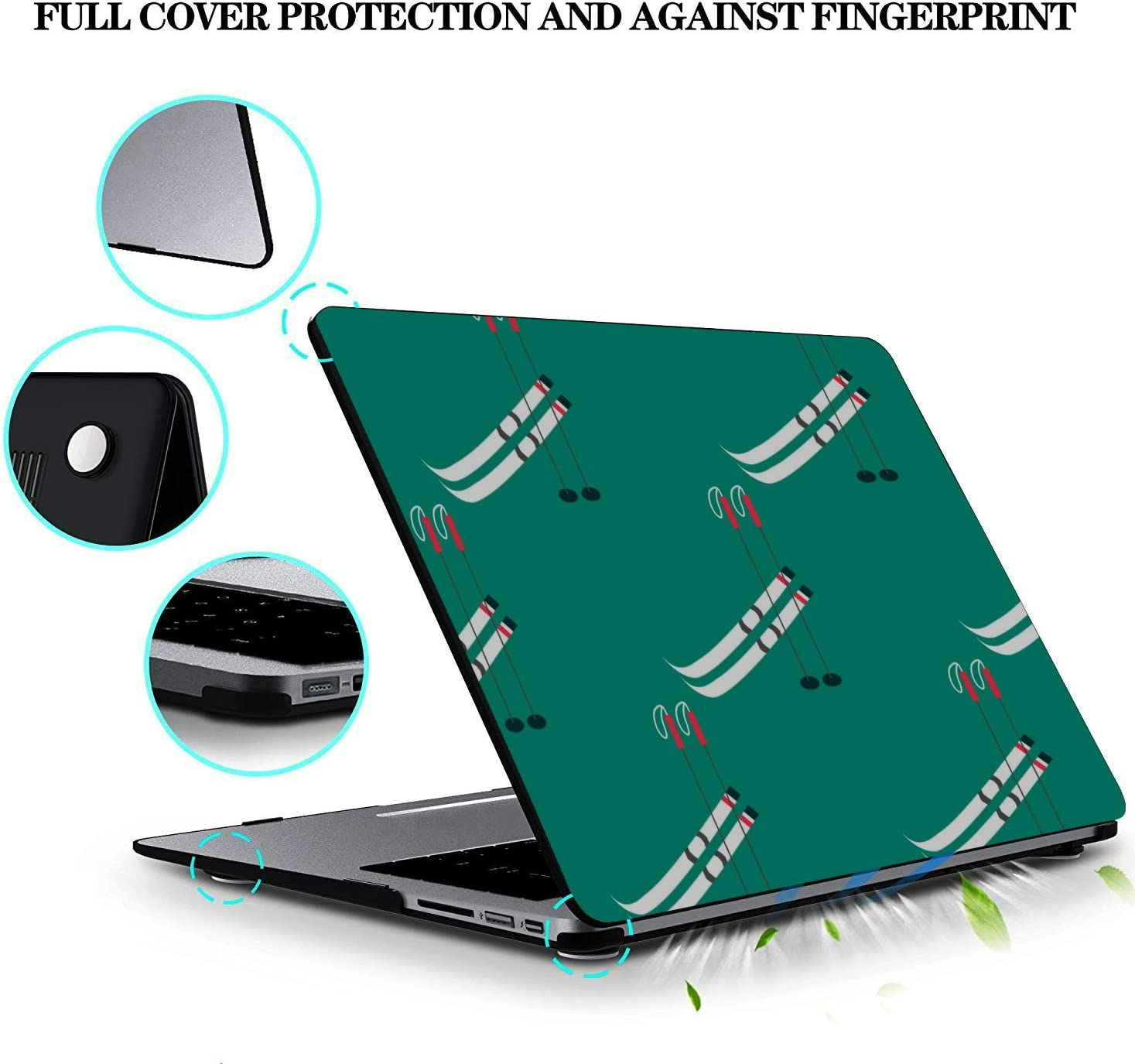 MacBook Air Hard Case Skiing Extreme Sports Entertainment Plastic Hard Shell Compatible Mac Air 11 Pro 13 15 12 Inch MacBook Case Protection for MacBook 2016-2019 Version
