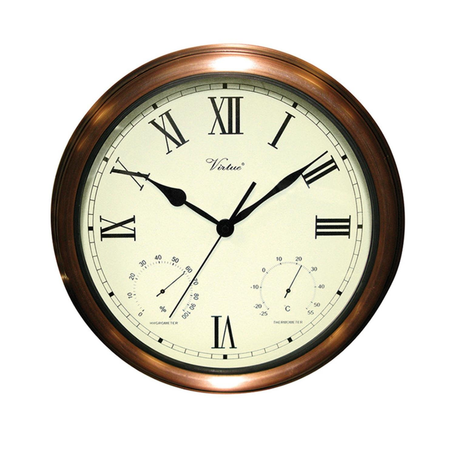Swim Central 15'' Battery Operated Copper Large Print Roman Numeral Outdoor Clock, Thermometer and Hygrometer