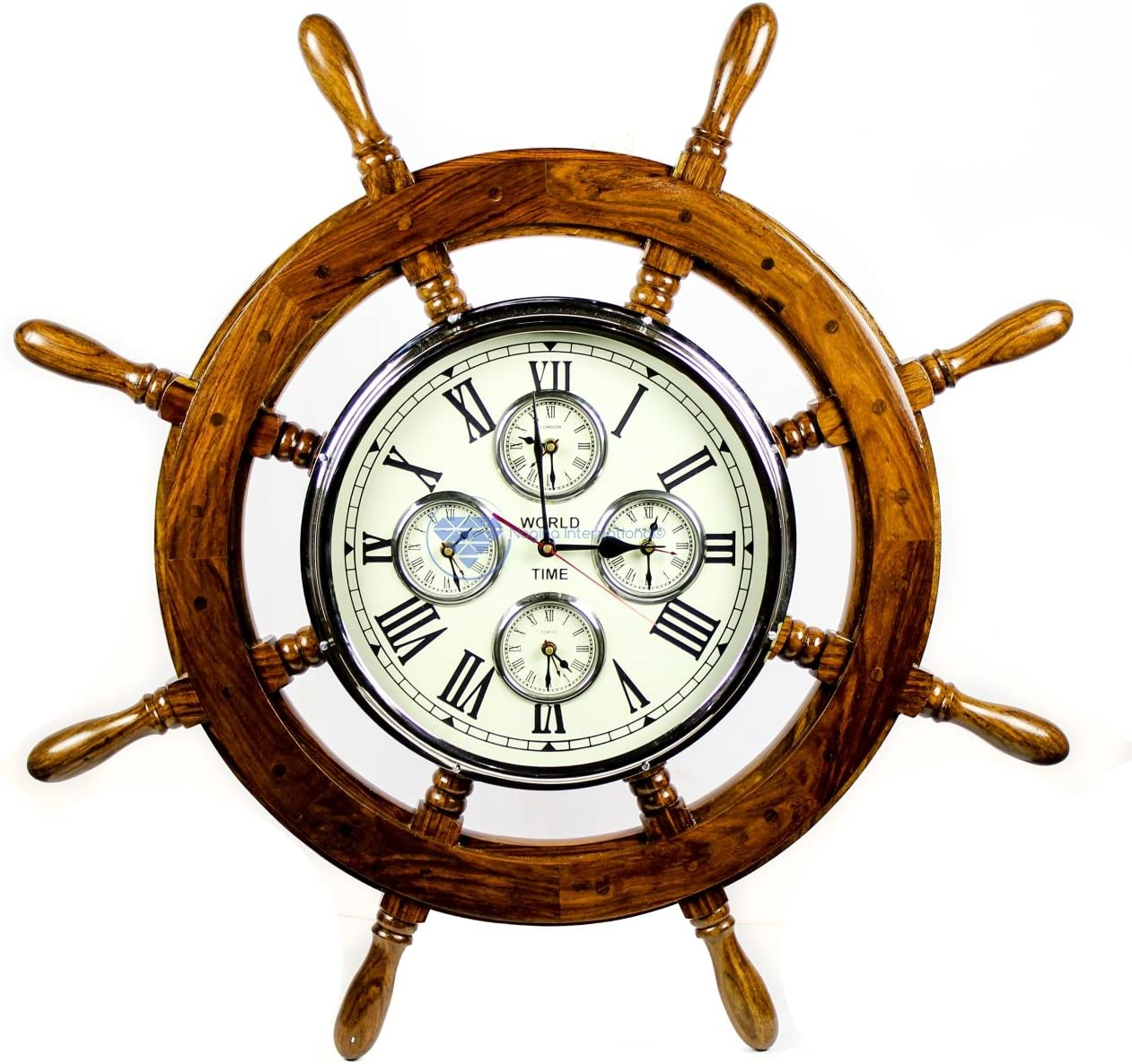 "Nagina International 30"" Premium Mahogany Crafted Large Nautical Ship's Wheel Times World Clock 