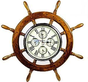 "Nagina International 36"" Premium Mahogany Crafted Large Nautical Ship's Wheel Times World Clock | Nautical Home Decor & Gifts (36 Inches, Rosewood)"