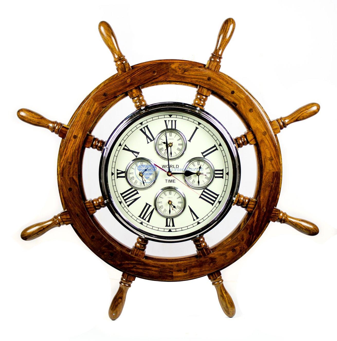 30'' Premium Mahogany Crafted Large Nautical Ship's Wheel Times World Clock   Nautical Home Decor & Gifts   Nagina International (30 Inches, Rosewood)