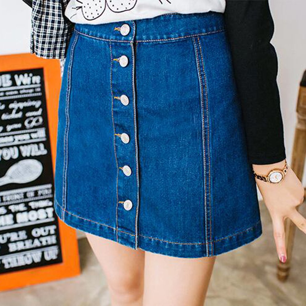 670f3a73a Summer Skirt for Women Sexy Denim A Line Mini Skirt High Waisted Buttons  Slim Fit Spring Casual Pencil Skirts: Amazon.co.uk: Clothing