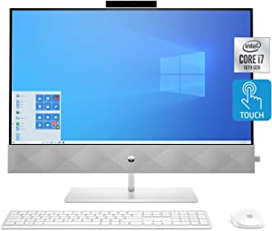 HP Pavilion All-in-One Desktop Computer, 27-inch Full HD Touchscreen, Intel Core i7-10700T Processor, Intel UHD Graphics 630, 16 GB Ram, 1 TB SSD Storage (27-d0080, Snowflake White)