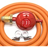 CALOR GAS Brand 37Mbar Screw on Propane Gas Regulator 2Mt Hose & 2 Clips 5 Year Warranty