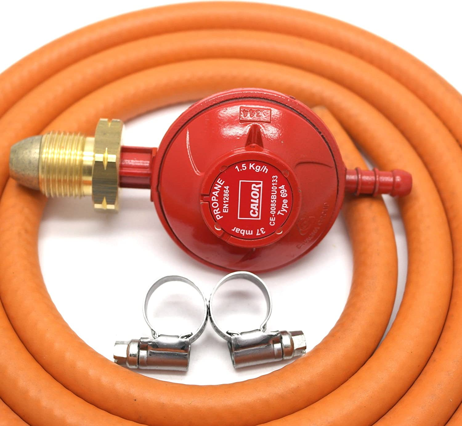 CALOR GAS Brand 37Mbar Screw on Propane Gas Regulator 1Mt Hose & 2 Clips 5 Year Warranty