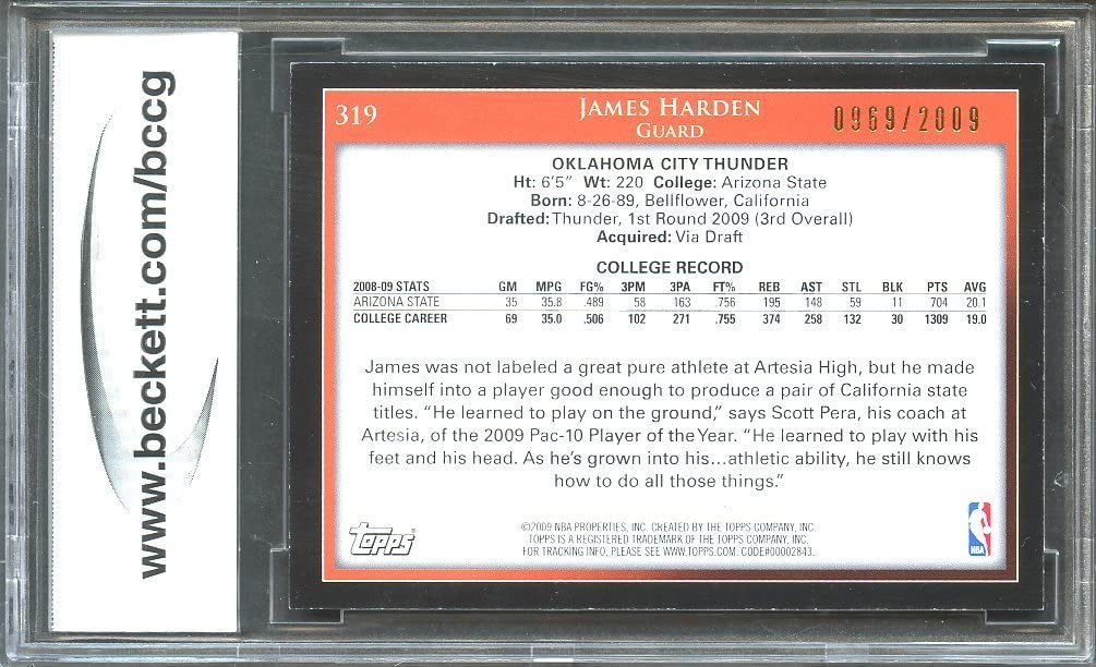 2009-10 Topps #319 James Harden Rookie Card Graded BCCG 10